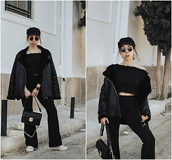 Theoni Argyropoulou - Miss Frilled Off Shoulder Blouse, Flared Trousers, Pull & Bear Sunglasses, Stradivarius Baker Boy Hat, Missguided Aviator Jacket, Mango Bag, Adidas Sneakers - How to style your frilled Co-Ord on somethingvogue.com