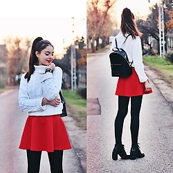 Nora Aradi - H&M Skirt, Forever 21 Boots, Ted Baker Bag, Daniel Wellington Watch, Mango Sweater - Loving you was red