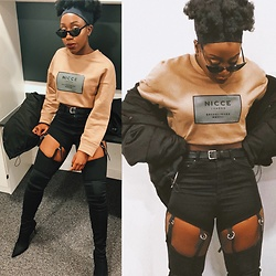 Enny Odeniyi - Nicce Clothing Mushroom Cropped Sweatshirt, Asos Suspenders Detail Jeans, Urban Outfitters Puffer Jacket, River Island Pointy Heeled Knee Highs - NICCE and Cozy