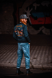 Maik - Goorin Brothers Basecap, Blauer Usa Bomber Jacket, Diesel Jeans, Dr. Martens Boots - Bomber, jeans and boots
