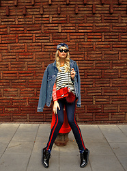 Sabina B - H&M Red Shoulder Bag, Romwe Different Sleeved, Striped Sweater, Zara Striped Pants, Alikante Lacquered Platform Shoes - Street rat