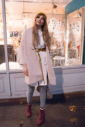 Carla V - Coat, Shirt Dress, Off White Industrial Belt, H&M Glitter Leggings, Zara Boots - Forget the rules