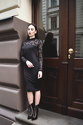 Anna Puzova - Light In The Box Dress, Gamiss Boots - LIGHT IN THE BOX BLACK AND LACE DRESS