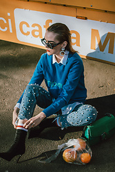 Andreea Birsan - Blue Cashmere Sweater, White Button Down Shirt, Statement Earrings, 90s Square Studded Sunglasses, Pearl Embellished Step Hem Mom Jeans, Heeled Black Ankle Boots, Green Suede Shoulder Bag - Orange