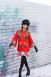 Eliza Romero - Asos Faux Fur Cossack Hat, Asos In The Mood For Love Beaded Shift Dress, Stradivarius Studded Gloves, Jeffrey Campbell Shoes Black Platform Boots, Hue Black 120 Denier Opaque Tights - In The Mood For Love