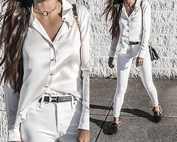 Kristina - Ravella Luxury Silk Blouse, Hermes H Logo Belt, Parker Smith White Jeans - Winter whites in something silk