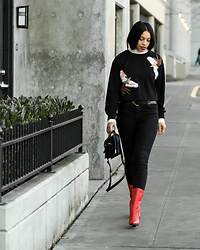 Kim Seidensticker - Shein Embroidered Sweatshirt, J Brand Black Jeans, Dolce Vita Red Boots - Black Basics