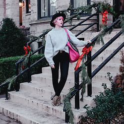 Jessie Bee - H&M Knit Sweater, Gucci Double Letter G Belt, Madewell Denim, Report Leopard Bootie, Brixton Messer Hat, Target Pink Tote - The Best Sweater