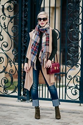 Meagan Brandon - Vest, Plaid Scarf, Turtleneck, Jeans, Sock Boots - Holiday Layers