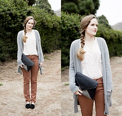 Emily S. - Cocoono Bags Bag, Conversation Pieces Button Down, American Eagle Outfitters Cardigan, Adriano Goldschmied Pants, Steve Madden Loafers - Heather & Fawn