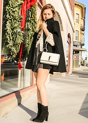 Holly Benjamin - Ysl Bag, H&M Poncho, Chelsea Paris Booties - Parisian Chic