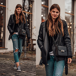 Jacky - Levi's® Jeans, Converse Sneakers -  How to wear a shearling jacket