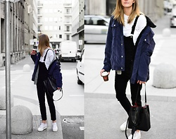 Katarina Vidd - The Cords Jacket, Superga Sneakers, Dungarees - Black dungarees