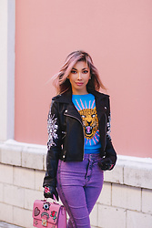 Eliza Romero - Asos Purple High Waist Jeggings, Aldo Leather Floral Embroidered Gloves, Monki Jaguar Knitted Sweater, Asos Jewel Encrusted Biker Jacket, Aldo Fuchsia Coal Top Handle Bag - The Pastels