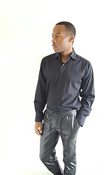 Thomas G - Bruno Button Down Casual Dress Shirt, Harmony + Havoc Faux Leather Joggers, Choker, Contributing Writer At Virily, Website: Heart Of The Midwest - Casual dress shirt + Faux leather joggers