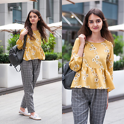 Christina & Karina Vartanovy - Romwe Yellow Calico Flower Print Frill Hem Blouse, Romwe Grey Checked Drawstring Waist Pants, Sammydress Studded Backpack, Rosegal White Mesh Embroidered Espadrilles - Karina // too good at goodbyes