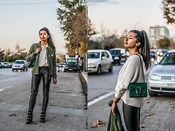 Konstantina Antoniadou - Nordstrom Leather Trousers, Nordstrom Lace Up Sweater, American Eagle Outfitters Miltary Jacket 1, American Eagle Outfitters Military Jacket 2, Nasty Gal Studded Boots - SweaterWeather