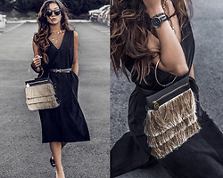 Kristina - Hemsmith Microsuede Dress, Fawnstar Cross Necklace, Hermes Logo Belt, Farrah & Sloane Fringe Bag - Holiday in hermes