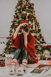 Andreea Birsan - Bell Sleeve Red Cashmere Sweater, Red Fedora Hat, Skinny Vinyl Trousers, Christmas Socks, Gucci Ace Heart Snekers, Pandora Bracelet - Christmas mood