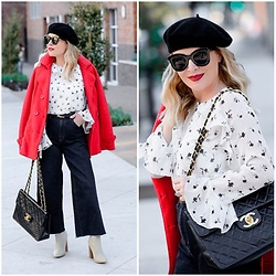 Zia Domic - Cece By Cynthia Steffe Print Top, Chanel Bag, Uniqlo Wide Leg Jeans - Pea Coat, Beret & Chanel