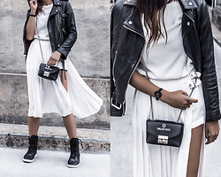 Kristina - All Saints Balfern Leather Jacket, Forever21 All White Pleated Skort, Valentino Chain Crossbody Bag, Mobs Tread Boot - Moc sneakers, pleat skort