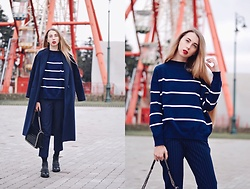 Lisa - Vipshop Sweater, Zaful Coat, Zaful Pants - Striped sweater