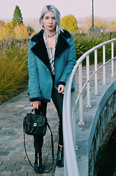 Emily Van Snick - Missguided Biker Jacket, Missguided Top, Zara Shoes, H&M Bag - Shearling biker jacket