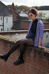 Megan Marshall - East End Thrift Shop Vintage Hawaiian Purple Shirt, Zara Faux Leather Shorts, Depop Chunky Bootsys, Urban Outfitters Peachy Keen Sunglasses - Just another brick in the wall