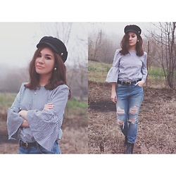 Roxana Ionescu - Zara Top, Primark Jeans, Zara Boots, Koton Belt, Pull & Bear Hat, Local Store Earrings - Let me sail away.