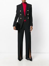 Denisee - Balmain Button Embellished Blazer, Jil Sander Buckle Strap Boots, James Perse Crop Scuba Leggings - Button-embellished Blazer