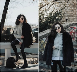Theoni Argyropoulou - Shein Sweater, Zaful Faux Fur Coat, Vinyl Trousers, Zara Ankle Boots, Zara Bagpack - Cold-Weather Outfit on somethingvogue.com