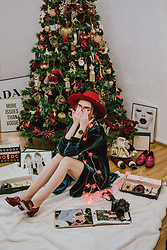 Andreea Birsan - Velvet Shirt Dress, Red Fedora Hat, Gucci Red Marmont Pumps -  A little late to the Christmas party