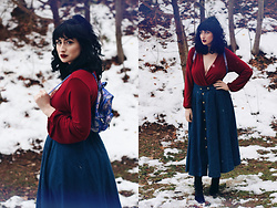 Adrianna Ghost - H&M Red Romper, Forever 21 Asian Backpack - December