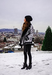 Maria P - Topshop Silver Shearling Jacket, Mott & Bow Washed Black Skinny Jeans - Silver Shearling