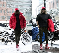 INWON LEE - Byther Red Muffler Neck Jacket, Byther Short Sleeve Padded Winter Inner, Byther Khaki Cargo Jogger Pants, Byther Custom Skull Embossing Cap - Puffer Padded Padding