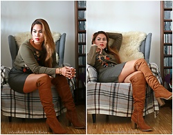 Kintan T - Zero Longarm Shirt, Kotton Leather Look Skirt, Deichmann Over Knee Boots - LEATHER LOOK - KHAKI GREEN MINI SKIRT