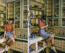 Mandee Rae - Zenni Optical Prescription Glasses, Forever 21 Floral Leotard, Forever 21 Denim High Waisted Skirt, Converse Hightops (Baby Blue!) - The kitchen of my dreams