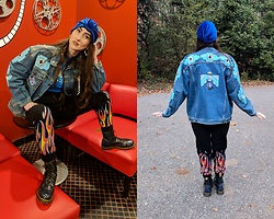 Tia - Thrifted Turban, Thrifted Vintage Denim Jacket, Claire's Heart Shaped Bamboo Earrings, Rue21 Flame Joggers, Dr. Martens Vegan Doc - Folk Art on Vintage Denim