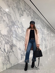 Casey - Zara Pink Coat, Forever 21 Cabby Hat, Naturalizer Sock Boot - Frayed and marbled