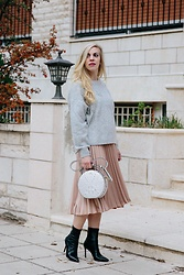 Meagan Brandon - Star Sweater (Under $40!), Midi Skirt, Brahmin Crossbody Bag, Sock Boots - Cozy & Festive Look for New Year's