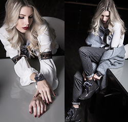 Dora D. - Silk Blouse With Lace, Grey Striped Cigarette Pants, Grey Studded Ankle Boots - It's the little things that make life BIG