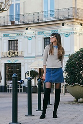 Danielle F - Skirt, Peter Pan Collar Sweater, Stuart Weitzman Otk Boots - La Cigale