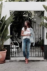 K-laa White - Bdg High Rise Straight + Narrow Jean, Madewell Ciao Tee, Madewell The Holly Ankle Wrap Sandal, Levis Ex Boyfriend Denim Trucker Jacket, Daniel Wellington Classic Petite Melrose 32mm - CIAO