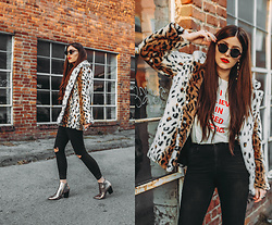 Indiefoxx - Motel Rocks Faux Fur, Shop Bando Tee, Charlotte Russe Metallic Boots, Forever21 Ripped Jeans - Metallic Cheeto