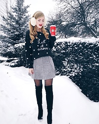 Sydney Hoffman - H&M Grey Sweater, Loft Grey Skirt, Aldo Over The Knee Boots - LET IT SNOW