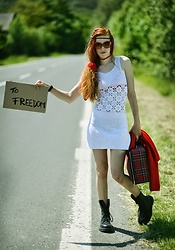 Petra Butkova - Ihlow Handmade White Dress, Ihlow Red Knitted Handmade Sweater - White dress for freedom