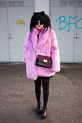 Panda . - H&M Coat, Mango Bag - PINK FAUX FUR