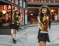 Indiefoxx - Lulus Dress, Forever21 Bomber, Freepeople Earrings, Shoe Dazzle Studded Boots - Somewhere between the Stars