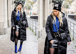 Sunnyinga - Asos Puffer Coat, Na Kd Sweater, New Look Leather Skirt, Na Kd Boots, Karl Lagerfeld Hat - Long Puffer Coat - Black & Blue