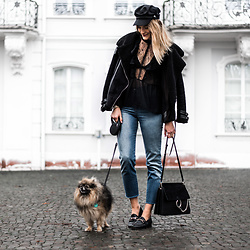 Catherine V. - Pimkie Aviator Jacket, Glamorous Lace Blouse, Levi's® Cropped Jeans, Sacha Loafers, Chloé Faye Bag - SOME LACE AND A LITTLE WOLF